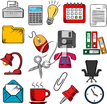 Business and office supplies icons with light bulb and phone, calendar and calculator, mouse and e-mail, folders documents and clock,  coffee cup and chair, shredder and scissors, pin and clip