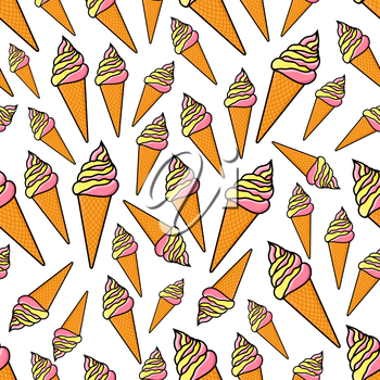 Waffle cone ice cream seamless pattern with strawberry and vanilla ice cream cones randomly scattered over white background. Dessert food or snack background design