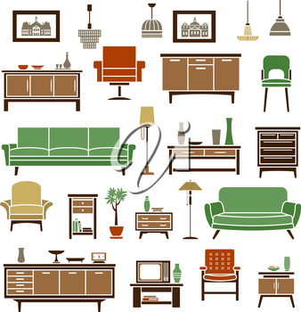 Home furniture elements with green soft couches, retro armchairs, high chair, wooden chests of drawers and bookcases with interior accessories and tv set, floor and pendant lamps. Flat isolated icons