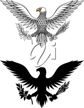 American eagle holding an olive branch and arrows symbolic of war and peace