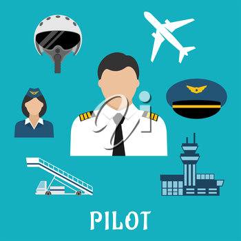 Pilot profession flat icons with captain in white uniform surrounded by stewardess, airplane, flight helmet, peaked cap, modern airport building and aircraft steps