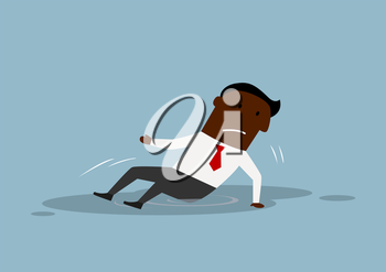 Disappointed african american businessman fell and sitting in a puddle. For business failure concept theme design, cartoon flat style