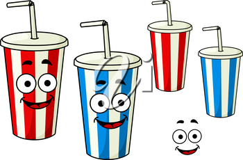 Takeaway red and blue soda striped cups cartoon characters with drinking straws and charming smiles, for fast food theme design