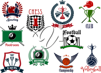 Various sports emblems and icons design emphasizing bowling and poolroom, billiards and chess, darts and basketball, volleyball, golf and football