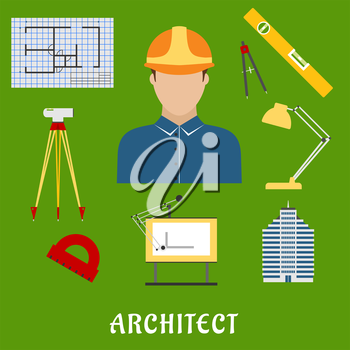 Architect profession flat icons showing man in helmet with drawing table, blueprint, compasses, protractor, lamp, ruler,  building and automatic level on tripod