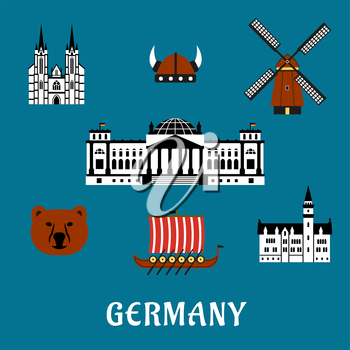 Germany travel concept with flat icons of bear, Reichstag building, gothic cathedral and castle, windmill, viking helmet with horns and longship drakkar
