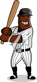 Cartoon african american baseball player with bat in hands awaiting a pitch from pitcher, for sport game theme design