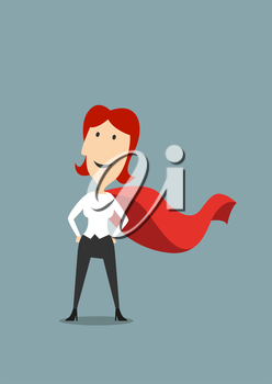 Cartoon brave businesswoman standing in hero red cape standing with hands on hips, for success or leadership concept design