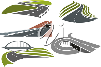 Winding roads among green fields, freeway with railroad bridge, highway interchange with ramp and mountainside road with tunnel, for transportation theme design
