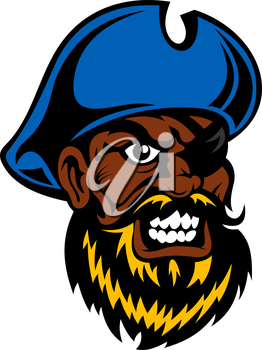 Angry cartoon dark skinned pirate captain with lush beard, in blue hat and eye patch, for tattoo or adventure theme