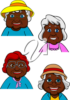 Cheerful active african american old women or ladies cartoon characters with elegant gray and red hairstyles, hats and glasses