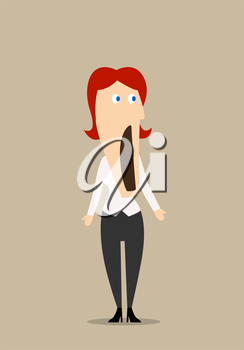 Surprised or amazed redhead businesswoman standing with wide open mouth in confusion. Cartoon flat character