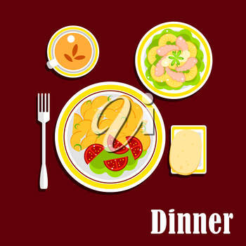 Appetizing dinner served on table with fried potatoes, fresh tomato vegetables, seafood salad with shrimp, pineapple and lettuce, wheat bread and cup of black tea
