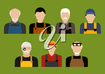 Avatars of farmer, mechanics, jeweler and tailor professions with men in professional uniform. Agriculture, service and transportation industry usage, flat style