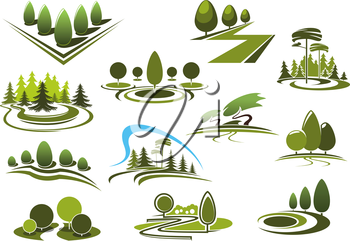 Green summer park, forest and garden landscape icons. With decorative trees and bushes, walking alleys and footpaths, peaceful grassy meadows and figured lawns