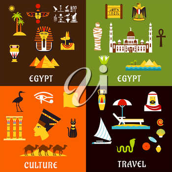 Egypt travel flat icons with ancient history and culture, tourist services and comfortable beach vacation, architecture and nature landmarks