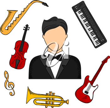 Musician profession and musical instruments colorful icons of man in tailcoat surrounded by electric guitar, trumpet, violin, saxophone, treble clef and synthesizer. Vector color sketched icons