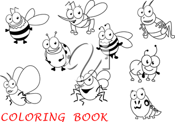 Cartoon insects isolated on white background with ladybug, mosquito and grasshopper, butterfly and ant, fly and bee, spider and caterpillar
