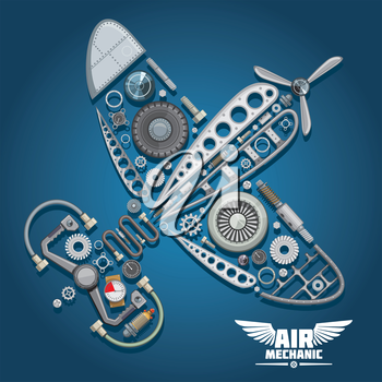 Retro propeller airplane, composed of wings body, reduction gear, propeller, pilot control wheel, pressure hoses, distributor valve, landing gear, colorful gauges, bolts and screws