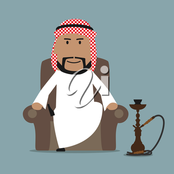 Relaxed cartoon arabian businessman in national white thobe and keffiyeh resting in a comfortable armchair with traditional oriental hookah. Relaxation or leisure theme design