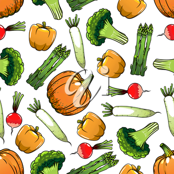 Organic farm vegetables seamless pattern with orange bell pepper and pumpkin, green broccoli and asparagus, red and white radish. Agriculture harvest, cooking or vegetarian menu design