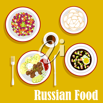 Popular dishes of russian cuisine with beef stroganoff, served with boiled potatoes, fresh vegetables and sour cream, cold soup okroshka with rye bread kvass, vegetarian salad vinegret, dumplings and