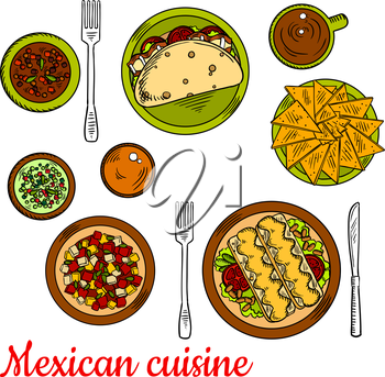 Traditional mexican taco, filled with fresh vegetables and bacon, crunchy nachos, enchiladas, served with beans, tomatoes and melted cheese, chopped salad, beef and bean stew, green and red salsa sauc