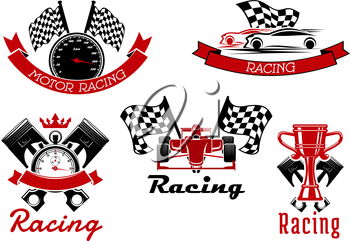 Auto racing sporting icons of sports cars and open wheel race car, trophy cup, speedometer and stopwatch, pistons and racing flags with red ribbon banners and crown