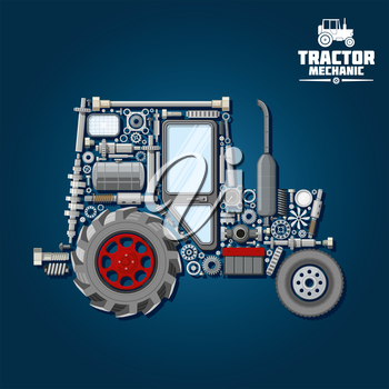 Mechanical parts silhouette of tractor symbol with front and driving wheels, door and exhaust stack, fuel tank and gears, suspension system and bearings, crankshaft and axle, headlights, springs and g