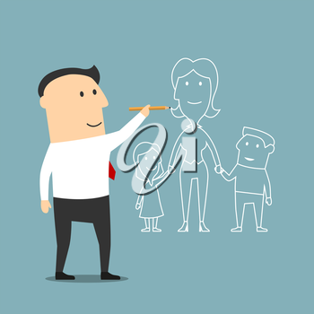 Cartoon businessman is visualizes a dream about happy family and drawing a woman with two kids. Use as motivation, future planning and love theme design