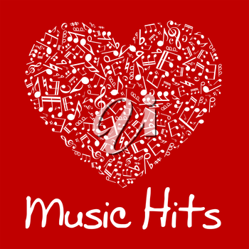 Love music concept design of vibrant red and white musical heart composed of notes and chords, treble and bass clefs, sharp and flat accidentals with caption Music Hits below