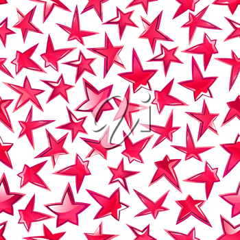 Festive shining stars pattern for celebration party, entertainment themes design with seamless ornament of bright pink glossy stars over white background