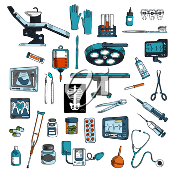 Medical instruments and equipments for surgery, dentistry and general medicine colored sketches with operation table and dentist chair with tools and medicines, blood bag and test tubes, stethoscope a