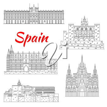 Spanish tourist sights icon of fortress Alhambra in Granada, Royal Palace of Madrid, Cathedral of Santa Maria in Palma, Barcelona Cathedral and Royal Palace of La Almudaina in Palma. Thin line style