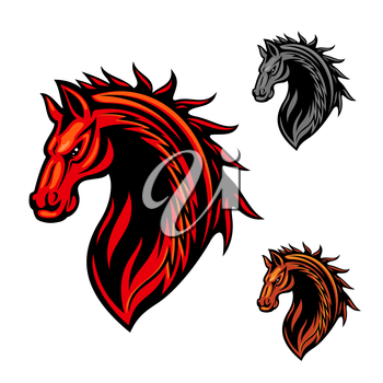 Tribal horse head icon with bright red curling ornaments of fire flames. May be use as race horse symbol, sporting team mascot or t-shirt print design