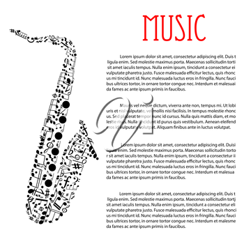 Jazz music festival or concert poster design template with abstract silhouette of saxophone composed of musical notes and chords, key signatures, treble and bass clefs. For music event promotion or fl
