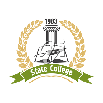 State college heraldic insignia with open book, feather pen and ionic greek column, framed by golden laurel wreath and green ribbon banner. May be use as education badge, emblem or symbol design