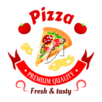 Premium italian pizza icon topped with salami, olives, tomatoes and peppers vegetables surrounded by ribbon banner, fresh tomatoes and cheese slices arranged into round badge. Great for fast food cafe