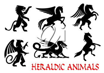 Heraldic animals icons. Pegasus, Griffin, Dragon, Lion, Horse, Unicorn outline silhouettes for tattoo, heraldry or tribal shield emblem. Fantasy gothic mythical creatures. Vector graphic elements
