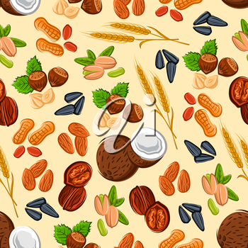 Nuts and seeds seamless pattern with almond, hazelnut, peanut, pistachio, walnut, coconut, wheat ears and sunflower seed on cream background. Vegetarian food and confectionery design