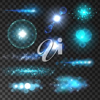 Sparkling light flashes. Glittering sun and star sparkles with lens flare effect on transparent background