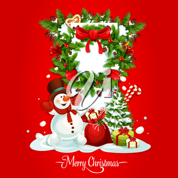 Christmas holiday card of snowman with gift and present box, xmas wreath with holly and pine tree branches, red bow and ilex berry, golden star, gingerbread heart, candy cane and pinecone
