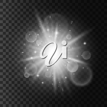 Shining sparkling star. Light flash with lens flare effect. Twinkling star with blurred light on transparent background. Glittering sparks with shiny beams. Isolated vector icon