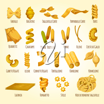 Italian pasta poster. Different types and shapes of authentic italian pasta with names. Lasagna and kanelone, farfalle, torti, eliche and penne, funghetto, filini, stelle, bucatini, tagliatelle, corte