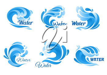 Wave of blue sea or ocean water icon set. Swirl of water wave symbol with drop and splash. Marine, nature, ecology themes design