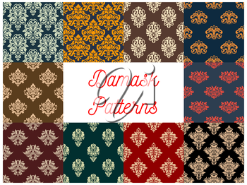 Damask patterns set. Vector seamless background of floral ornate motif. Flourish flowery decor tiles set of baroque embellishments and ornamental rococo adornments. Drapery and tracery luxury backdrop
