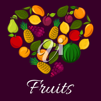 Heart of fruits. Vector fruit poster with fresh fruit harvest of ripe watermelon, red grape, juicy orange or tangerine, citrus lemon, exotic mango and tropical pineapple with avocado, pear, apricot an