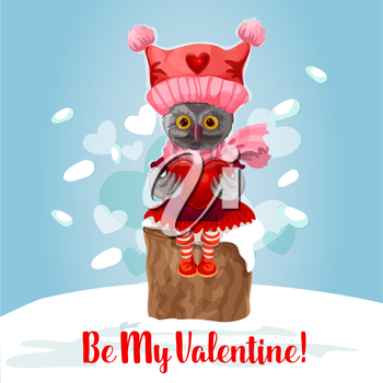 Valentine Day card of cute owl with heart. Owl bird in knitted red hat and scarf sits on snowy tree stump with heart in wings. Be My Valentine greeting card or poster design