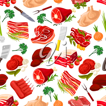 Meat food products seamless pattern background. Beef steak with garlic and pork ham with leaf spices, fat or lard, grease with onion and sirloin, meatloaf and butcher knife or cleaver, fork. Cook and