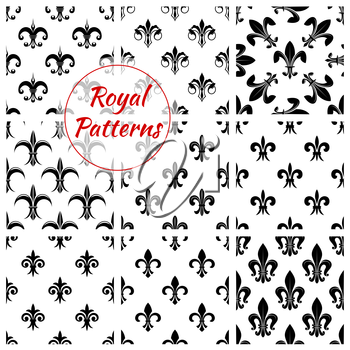 Fleur-de-lis pattern set of fleur-de-lys royal lily flower tracery. Imperial floral ornate motif tiles. Vector background of heraldic flowery ornament and flourish ornamental embellishment backdrop fo